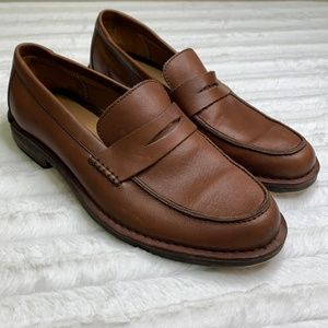 Tommy Hilfiger Brown Leather Slip On Shoes